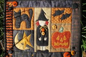 ハロウィンのパッチワークキルトなどに見られる魔女について